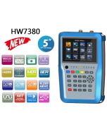 """HW7380 UHD satelliitti-, antenni- ja kaapelimittari & spektrianalysaattori, DVB-S2/T2/C viritin, 5"""" LCD-näyttö, MER, BER & HEVC - asiakaspalautus"""