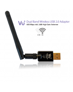 Vu+ Dual Band Wireless USB 2.0 WiFi-sovitin 600 Mbps & irrotettava antenni