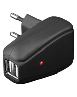 USB virtalähde/laturi 230 V -> 2 x USB, 1 A