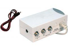 Triax IFP224 virtalähde antennivahvistimille, ottaa virran 12 V akulta tai 230 V verkkovirrasta, 2 ulostuloa