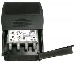 Televés 560121 UHF/VHF/FM mastovahvistin (28/17/13 dB) ja yhdyssuodin, USOS, 1 ulostulo, LTE700 & LTE800 suojattu, F-liittimet