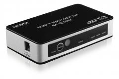 Deltaco HDMI-kytkin 3/1, 4K/UHD@60Hz, HDCP, CEC, automaattinen, kaukosäädin
