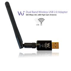 Vu+ Dual Band Wireless USB 2.0 WiFi-sovitin 600 Mbps & irrotettava antenni