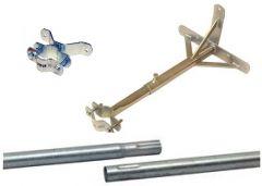 Mastopaketti: 1000-4000 mm, Ø48 mm masto + kiinnikkeet, galvanoitua terästä