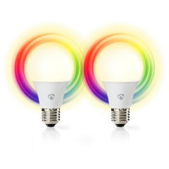Nedis SmartLife LED-älylamppu, WiFi, E27, 470 lm, Monivärinen, 2 kpl