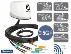 Navilock NL-400 monikaista-antenni, GPS, 4G/5G-MIMO, WLAN MIMO, 5 x RP-SMA, 3 m, IP67