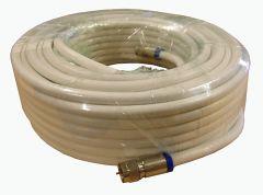 Antennikaapeli RG-6, 90 dB, 6,9 mm, 20 m, kompressoidut F-liittimet, valkoinen