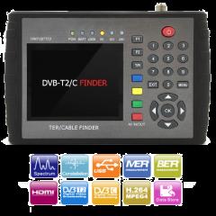 """HW7187TCF HD antenni- ja kaapelimittari & spektrianalysaattori, DVB-T2/C viritin, 5"""" LCD-näyttö, MER & BER"""