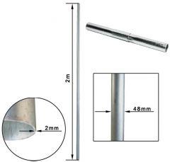 Mastoputki 2000 mm, Ø48 mm, galvanoitua terästä, jatkettava