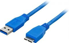 USB 3.0 A - Micro B kaapeli 0,5 m, sininen