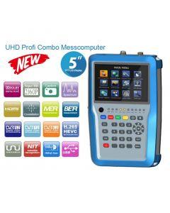 """HW7380 UHD satelliitti-, antenni- ja kaapelimittari & spektrianalysaattori, DVB-S2/T2/C viritin, 5"""" LCD-näyttö, MER, BER & HEVC"""