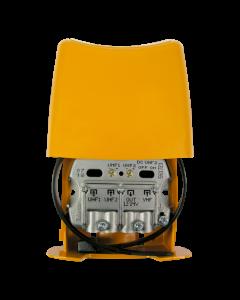 Televés 561721 2xUHF/VHF mastovahvistin ja yhdyssuodin, 7-27 dB USOS, 1 ulostulo, LTE700 suojattu