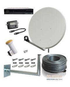 Täydellinen satelliittipaketti 110 cm 32 virittimelle + HD-digiboksit