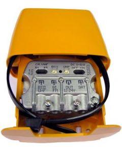 Televés 561501 UHF+VHF mastovahvistin ja SAT/UHF+VHF/FM yhdyssuodin, USOS, 1 ulostulo, LTE800 suojattu