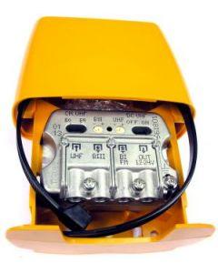 Televés 561801 UHF/VHF/FM mastovahvistin (29/21/-2 dB) ja yhdyssuodin, USOS, 1 ulostulo, LTE800 suojattu
