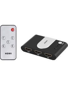 Deltaco HDMI-kytkin 3/1, automaattinen, kaukosäädin