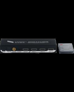 Deltaco HDMI Switch 4/1, 4K/UHD, 2160p@60Hz, HDCP, automaattinen, kaukosäädin, erillinen ääniulostulo
