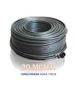 Hirschmann antennikaapeli 90 dB, 6,9 mm, 20 m, F-liitin 1 päähän asennettu, musta