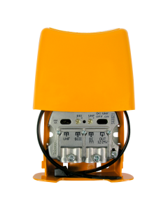 Televés 561821 UHF/VHF/FM mastovahvistin (28/18/-2 dB) ja yhdyssuodin, USOS, 1 ulostulo, LTE700 & LTE800 suojattu