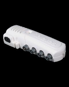 Televés 552840 jakovahvistin, 47-694 MHz, 8-20 dB, 2+1 ulostuloa, IEC-liittimet, LTE700 & LTE800 suodin