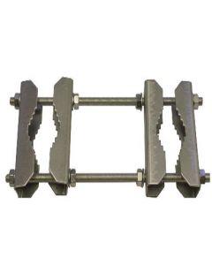 Mastokiinnike 2 mastolle, 95 mm, galvanoitua terästä