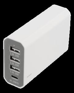 USB virtalähde/laturi 230 V -> 3 x USB A & 1 x USB C, 8 A