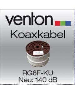 Venton antennikaapeli RG-6F-KU, täyskuparijohdin, 140 dB, 6,9 mm, 100 m, valkoinen