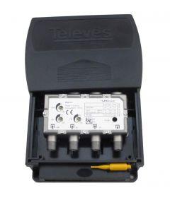 Televés 560101 UHF/VHF/FM mastovahvistin (32/20/15 dB) ja yhdyssuodin, USOS, 1 ulostulo, LTE800 suojattu, F-liittimet