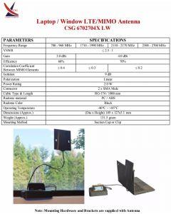 CSG Networks 3G/4G/LTE MIMO ympärisäteilevä paneeliantenni, 700-2700 MHz, 2 x 3-4 dBi, 2 ulostuloa