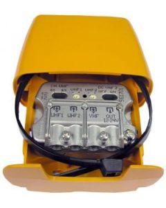 Televés 561701 UHF/UHF/VHF mastovahvistin ja yhdyssuodin, 7-27 dB USOS, 1 ulostulo, LTE800 suojattu