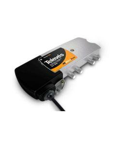 Televés 534211 antenni- ja kaapeliverkon jakovahvistin, 5-65/85-1006 MHz, 7-25 dB, 3 ulostuloa, aktiivinen paluukanava 20 dB
